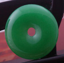 HOO 55mm imperial green jade stone donut circle bead pendant for necklace