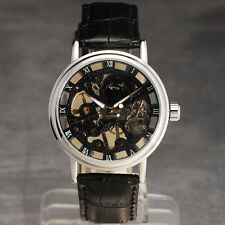 Men Luxury Transparent Mechanical Skeleton Wrist Watch Stainless Steel Leather