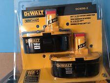 New 2-Pack DEWALT DC9096-2 18-Volt XRP 2.4 Amp Hour NiCad Pod-Style Battery