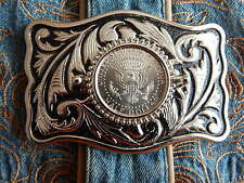 New USA Made Silver Black Metal Belt Buckle American Half Dollar Western Cowboy