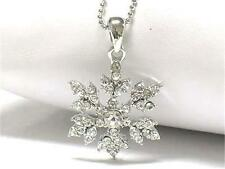 G4 Crystal Snowflake Star NECKLACE Winter Christmas Holiday Silverplated