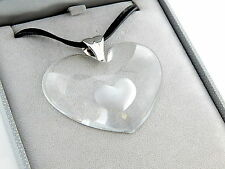 LALIQUE Clear XXL Tender Heart Crystal Necklace/Pendant SILVER Jewelry NIB