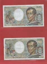 Lot de 2 x 200 FRANCS MONTESQUIEU de  1988 ALPHABETS   D.056  E.056
