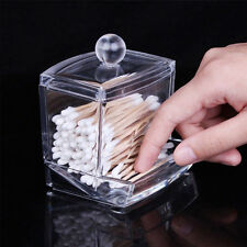 Acrylic Storage Box Cotton Swab Stick Lady Makeup Holder Jewelry Organizer Clear