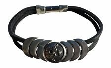"""Indian Magnetic Leather Bracelet """"Courage"""" Jewelry Black Magentic NEW"""