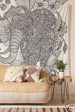 Indian Elephant Mandala Wall Hanging Tapestry Gold Bedspread Hippie Tapestries