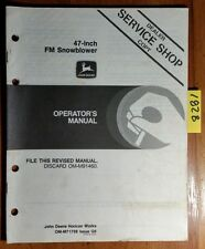 "John Deere 47"" FM Front Mount Snowblower S/N -020000 Owner Operator Manual 7/86"