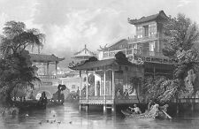 China, CANTON GUANGZHOU MANSION VILLA COURTYARD ~ Old 1842 Art Print Engraving
