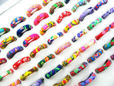 FREE Wholesale Bulk 30Pcs Flower FIMO Polymer Clay Rings Fashion Jewelry J115