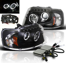 2003-2006 FORD EXPEDITION PROJECTOR HALO HEADLIGHTS BLACK+6000K HID NEW PAIR L+R