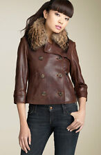 Andrew Marc ELITE raccoon Fur Collar Double Breasted brown Leather Jacket S $895