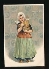 Netherlands Children Dutch girl in clogs with boat Embossed c1920/30s? PPC