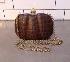 Rodo Crocodile Embossed Brown Leather Gold Silver Crystal Clamshell Evening Bag