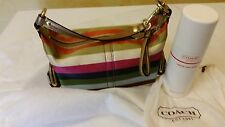 COACH SIGNATURE HANDBAG MULTI COLOR STRIPE HOBO W/DUST BAG & CLEANER