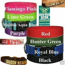 EMBROIDERED CUSTOM PET COLLARS ID - DOG 8 COLORS & 4 SIZES- CAT 8 COLORS