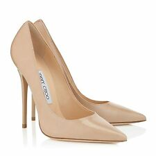 Jimmy Choo ANOUK Nude Patent Leather Pumps Size 38