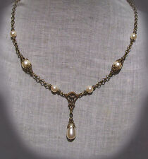 BRASS FILIGREE CREAM GLASS PEARL TEAR DROP NECKLACE VICTORIAN EDWARDIAN DECO