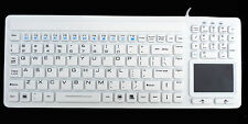 DSI White Silicone Industrial Waterproof USB Keyboard with Touchpad KB-107W