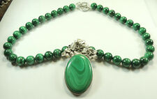 Statement Malachite Necklace with Malachite Floral Pendant Sterling Silver