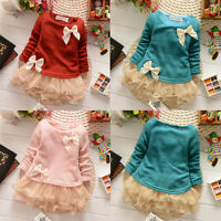 Baby Girls Toddlers Knit Top Long Sleeve Kids Lace Bow Princess Tutu Dress Skirt