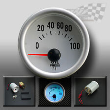 "OIL PRESSURE GAUGE PSI UNIVERSAL 52MM / 2"" WHITE FACE ALSO OIL PRESSURE SENSOR"