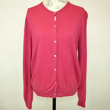 Neiman Marcus 2-Ply 100% Cashmere Sweater Cardigan Pink Crewneck Long Sleeves XL