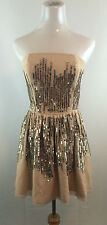 NEW BEIGE NUDE TOP SHOP TOPSHOP WOMENS GOLD SEQUIN MESH TULLE BUSTIER DRESS SZ 6