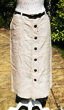 New M&S Per Una linen button front skirt UK 14 long stone Holiday