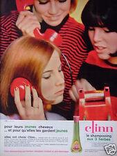 PUBLICITÉ 1964 CLINN SHAMPOOING AUX 3 HERBES DÉMÊLANT ANTI ÉLECTRIQUE