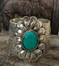Cowgirl Bling flower CONCHO  Western  Cuff Bracelet turquoise Southwest