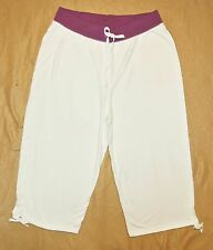 Plus JMS Just My Size French Terry 2 Tone Capri Pants Capris 2X White/Purple NEW