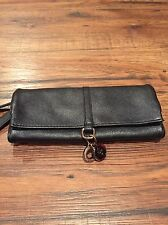 NWT COLE HAAN JEWELRY ROLL - BLACK LEATHER - ESSEX II COLLECTION