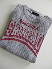 DSQUARED 2 rara de algodón de punto panal skihead 2008 cabeza rapada L/S T-Shirt Top Gris L