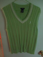 Womens IZOD Lime Green V Neck Cable Chain Knit Sleeveless Sweater Golf Vest Sz M