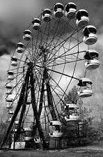 Framed Print - Chernobyl Ferris Wheel Black & White (Picture Poster Fair Art)