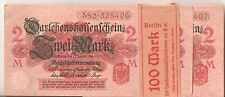 1914 WWI Wrapped Bundle  of 50 Germany 2 Mark Banknotes War Money