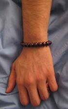 """MEN'S BROWN WOOD BEADS BRACELET """"STRETCH"""" One Size Fit All"""