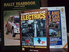 3 x RILEGATO Race & Rally Auto libri di origine della concorrenza auto Electrics & ANNUARIO