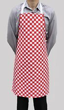 Brand New Red White Check Apron Mens Womens Work Chef Cook Restaurant Cafe Shop