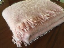 "Mohair Queen Blanket Wool Pink France Quality 64x82""  B477"