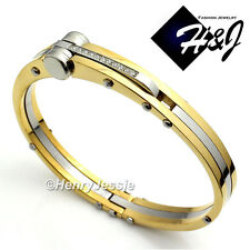 MEN's Stainless Steel 0.33 CT Pave CZ Black/Gold/Silver Bangle/Handcuff Bracelet