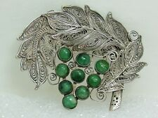 Rare Antique Chinese Sterling Silver Filigree 9 Jadeite Cabochon Marked Brooch