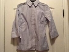 New Womens Lands End Wrinkle Free Broadcloth White Stripe Shirt 3/4 Sleeves So 4