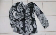 Basque size 14 black and grey silky dressy top ladies-women