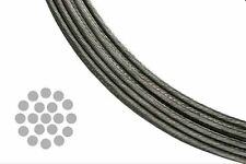 "T 316 Grade 1 x 19 Stainless Steel Wire Rope Cable 3/16"", 100 Feet"