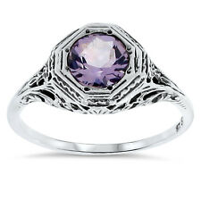 GENUINE BRAZILIAN AMETHYST ANTIQUE STYLE .925 STERLING SILVER RING SIZE 10,  #55