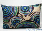 50cm x 30cm Blue Green Black Embroidery Patterned Cushion Cover