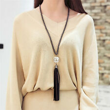 Vintage Women Leather Tassels Pearl Charm Beads Pendant Long Chain Necklace New