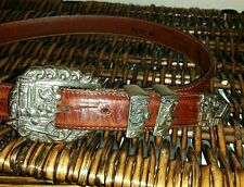 Brighton Mickey Mouse, Donald Duck, Disney Train Embossed Croc Belt Sz. 28 Brown