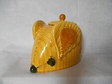 Vintage Doranne of California Mouse Cookie Jar Calico Stitching Yellow Mustard
